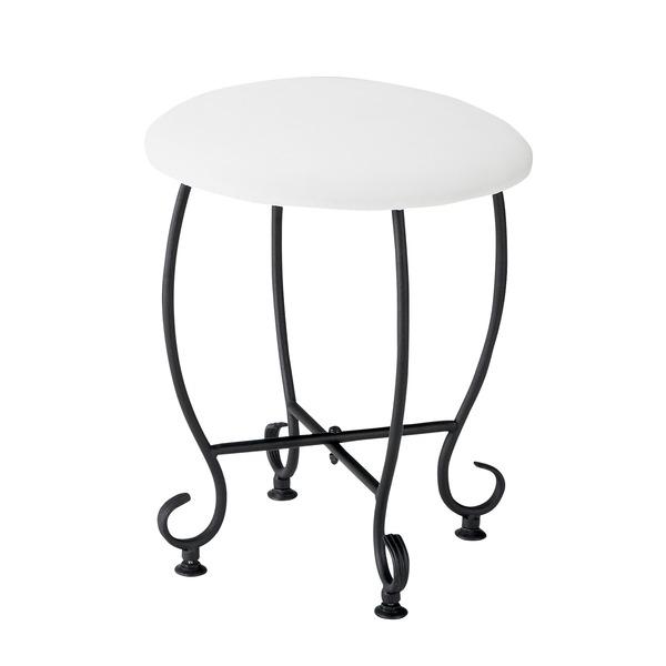 ヨーロッパ風 ラウンドスツール/腰掛け椅子 【円形 直径35cm】 スチール脚 張地:合成皮革/合皮 『Del Sol』