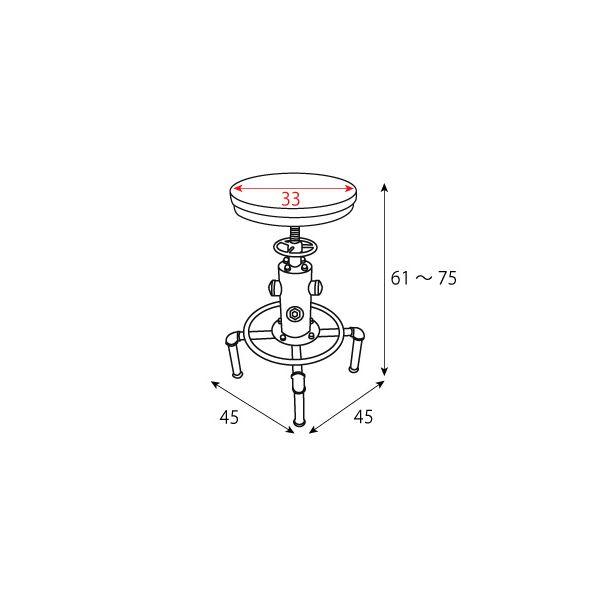 シンプル バーチェア/カウンターチェア 【レッド】 高さ61〜75cm 座面昇降式 天然木・スチール 『インダストリアルシリーズ』