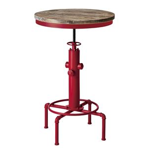 シンプル バーテーブル/カウンターテーブル 【直径60cm レッド】 天板昇降式 天然木・スチール 『インダストリアルシリーズ』 - 拡大画像