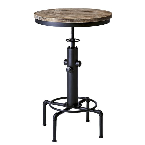 シンプル バーテーブル/カウンターテーブル 【直径60cm ブラック】 天板昇降式 天然木・スチール 『インダストリアルシリーズ』