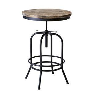 円形バーテーブル/カウンターテーブル 【直径60cm】 天板昇降式 天然木・スチール 木目調 『インダストリアルシリーズ』 - 拡大画像