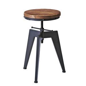 シンプル バーチェア/カウンターチェア 【座面回転昇降式】 高さ49〜65cm 天然木・スチール 『インダストリアルシリーズ』 - 拡大画像