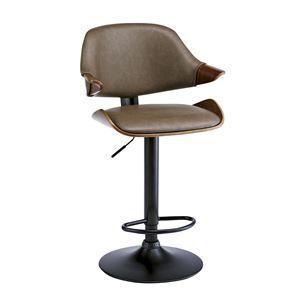 ビンテージ風 バーチェア/カウンターチェア 【ブラウン】 座面回転昇降式 背もたれ付き 張地:合成皮革/合皮 - 拡大画像