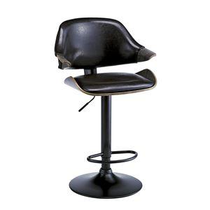ビンテージ風 バーチェア/カウンターチェア 【ブラック】 座面回転昇降式 背もたれ付き 張地:合成皮革/合皮 - 拡大画像