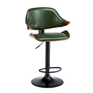 ビンテージ風 バーチェア/カウンターチェア 【グリーン】 座面回転昇降式 背もたれ付き 張地:合成皮革/合皮 - 拡大画像