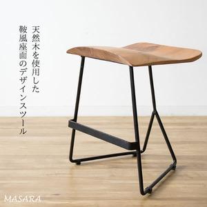 木製スツール 天然木 腰掛椅子 masara マサラ 天然木スツール 座面高さ45cm スツール 椅子 アカシア 木製 ドレッサー デスク 玄関 リビング KNC-L421 - 拡大画像