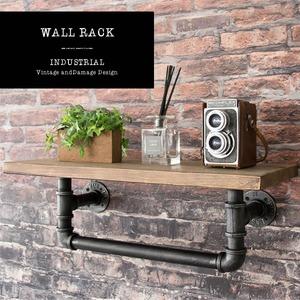 ウォールラック INDUSTRIAL(インダストリアル) 幅61×奥行き25×高さ20.5cm 天然木 パイン材 スチール 配水管デザイン ブラック RK-A100 - 拡大画像