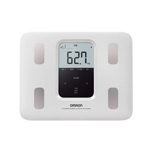 【OMRON オムロン】 体重体組成計/体重計 【ホワイト】 大きい文字表示 個人データ4人分登録可・ゲストモード - 拡大画像
