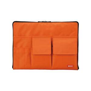 薄型 バッグインバッグ/収納ケース 【A4 オレンジ】 幅35cm×奥行1.7cm×高さ25.5cm - 拡大画像