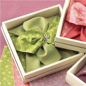 彩美花飾りふろしき・小ふろしき 【グリーン】 化粧箱入り 日本製 〔贈答品 記念品 プレゼント〕