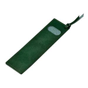 しおりにもなる牛革ペンケース/文房具【グリーン】化粧箱入り日本製『革工房いんのしま』