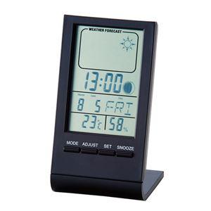 ウェザースリムクロック/置き時計 【天気予報機能付き】 ムーンフェイズ機能付き アラーム・カレンダー・温度計 - 拡大画像