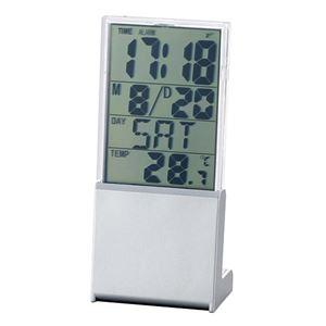 デスクオンファンシークロック/置き時計 【コンパクト】 大きい液晶表示 アラーム・カレンダー・温度計 - 拡大画像