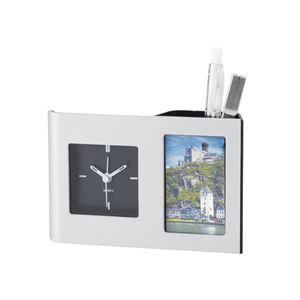 時計付きペンスタンド/カークデスクスタンド 【フォトフレーム付き】 10×15.3×3.5cm - 拡大画像