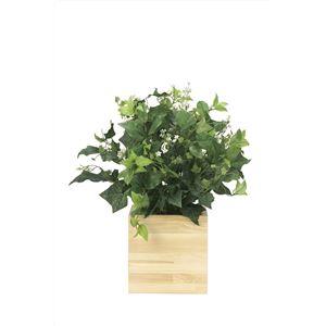 観葉植物/フェイクグリーン 【ウッドボックス K】 日本製 光触媒 消臭 抗菌 ホルムアルデヒド対策 『光の楽園』 - 拡大画像