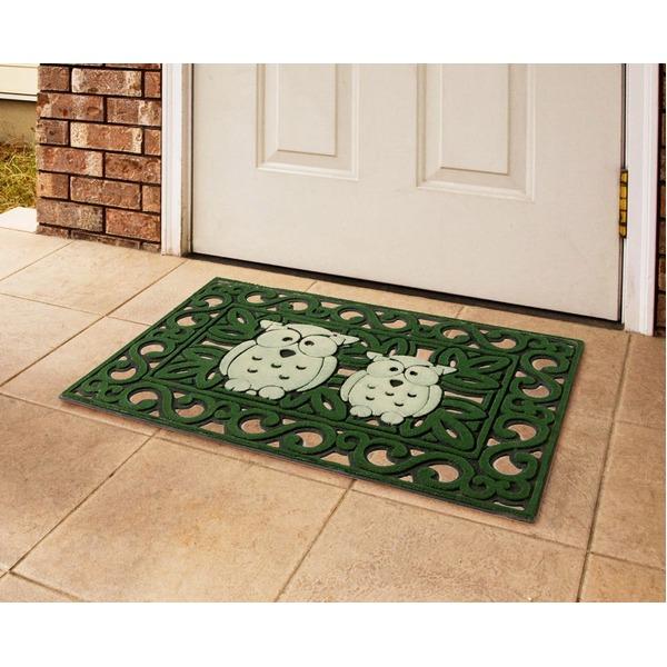 暗くなると光るようにし、夜の帰宅時・来客時の玄関をかわいく演出する「光る玄関マット/エントランスマット 【フクロウ柄】 75×45cm 洗える」