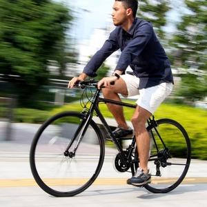 クロスバイク 700c(約28インチ)/ブラック(黒) シマノ21段変速 アルミフレーム 軽量 重さ11.2kg 【VENUS】 ビーナス CAC-021 - 拡大画像