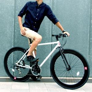 クロスバイク 700c(約28インチ)/ホワイト(白) シマノ21段変速 軽量 重さ11.2kg 【HEBE】 ヘーべー CAC-024 - 拡大画像