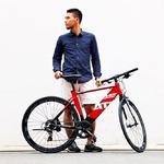 クロスバイク 700c(約28インチ)/レッド×ブラック シマノ8段変速 アルミフレーム 軽量 重さ11.9kg 【BEATRICE】 CAC-026