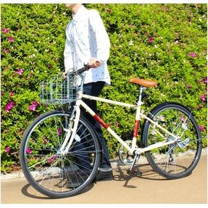 クロスバイク 26インチ/アイボリー シマノ6段変速 前後Vブレーキ 【Raychell】 レイチェルCCR-266R - 拡大画像