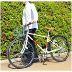 クロスバイク 26インチ/アイボリー シマノ6段変速 前後Vブレーキ 【Raychell】 レイチェルCCR-266R