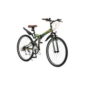 折りたたみ自転車 26インチ/オリーブ シマノ18段変速 ブロックタイヤ 【Raychell】 レイチェル R-314N - 拡大画像