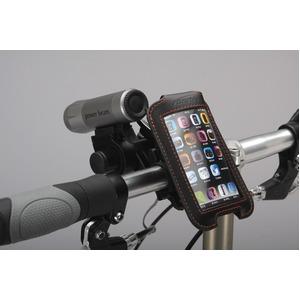 iPod/iPhoneケース&ミニバー装備ブラケットセット 【IBERA】 IB-PB3+Q2 ブラック(黒) 〔自転車パーツ/アクセサリー〕 - 拡大画像