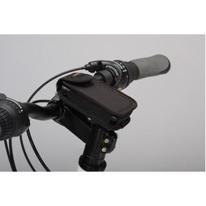 カラビナ付きフォンケース&ステム用ブラケットセット 【IBERA】 IB-PB4+Q4 ブラック(黒) 〔自転車パーツ/アクセサリー〕 - 拡大画像