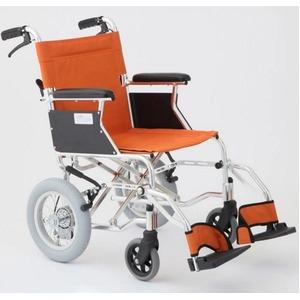 介助式車椅子 オレンジ アルミ製 バンドブレーキ仕様/軽量コンパクトタイプ 【MIWA】 ミワ HTB-12D