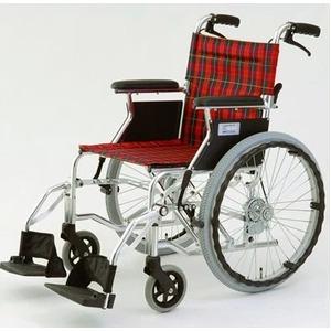 自走/介助兼折りたたみ車椅子 ラクポン/チェックレッド(赤) アルミ製 軽量コンパクトタイプ 【MIWA】 ミワ HTB-20D - 拡大画像
