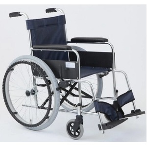 自走式折りたたみ車椅子 リーズ/レザーネイビーブルー(紺) 背面ポケット付き 【MIWA】 ミワ MW-22ST - 拡大画像