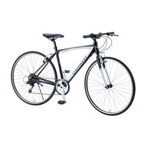 クロスバイク 700c(約28インチ)/ブラック(黒) シマノ6段変速 重さ13.0kg アルミフレーム 【CHEVY】 AL-CRB7006NX - 拡大画像