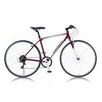 クロスバイク 700c(約28インチ)/レッド(赤) シマノ6段変速 重さ13.0kg アルミフレーム 【CHEVY】 AL-CRB7006NX