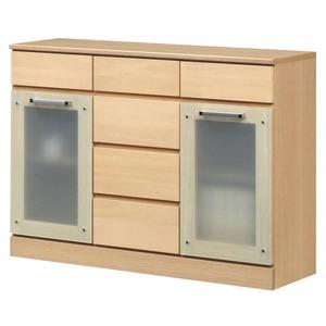 キャビネットB(サイドボード/キッチン収納) 【幅111cm】 木製 ガラス扉付き 日本製 ナチュラル 【Angel】エンジェル 【完成品】