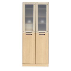 フリーボード(キャビネット/キッチン収納) 【幅74cm】 木製 ガラス扉/可動棚付き 日本製 ナチュラル 【Angel】エンジェル 【完成品】