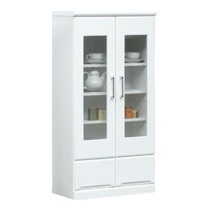 ミドルキャビネット(リビングボード/収納棚) 【幅60cm】 可動棚付き 日本製 ホワイト(白) 【Creap4】クリープ4 【完成品】