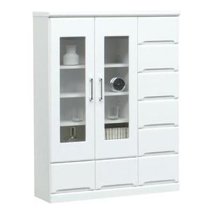 ミドルキャビネット(リビングボード/収納棚) 【幅90cm】 可動棚付き 日本製 ホワイト(白) 【Creap4】クリープ4 【完成品】