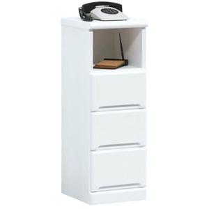 電話台/FAX台(サイドチェスト) 【幅30cm】 3段/オープン収納棚付き 日本製 ホワイト(白) 【Creap4】クリープ4 【完成品】