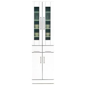 ダイニングボード 【上置き付き】 幅50cm 飛散防止ガラス扉/耐震ラッチ/可動棚付き 日本製 ホワイト(白) 【完成品】