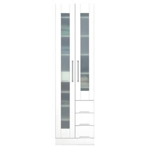 マルチボード(食器棚 リビング収納) 【上置き付き】 幅50cm 飛散防止ガラス扉/耐震ラッチ/可動棚付き 日本製 ホワイト(白) 【完成品】