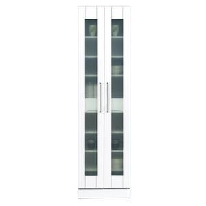 食器棚(キッチン収納庫) 【上置き付き】 幅50cm 飛散防止ガラス扉/可動棚付き 日本製 ホワイト(白) 【完成品】