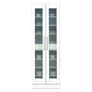 食器棚(キッチン収納庫) 【上置き付き】 幅60cm 飛散防止ガラス扉/可動棚付き 日本製 ホワイト(白) 【完成品】