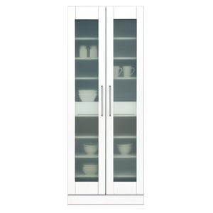 食器棚(キッチン収納庫) 【上置き付き】 幅70cm 飛散防止ガラス扉/可動棚付き 日本製 ホワイト(白) 【完成品】