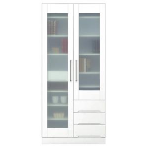 マルチボード(食器棚 リビング収納) 【上置き付き】 幅80cm 飛散防止ガラス扉/可動棚付き 日本製 ホワイト(白) 【完成品】