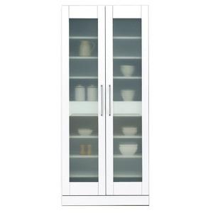 食器棚(キッチン収納庫) 【幅80cm】 飛散防止加工ガラス扉/可動棚付き 日本製 ホワイト(白) 【完成品】