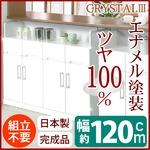 カウンター下キッチンキャビネット 幅120cm 可動棚/突っ張りアジャスター付き 日本製 ホワイト(白) 【完成品】