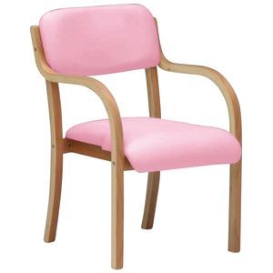 スタッキングチェア 【2脚入り】 木製 肘付き ピンク 【Support】サポート 【完成品 開梱設置】 - 拡大画像