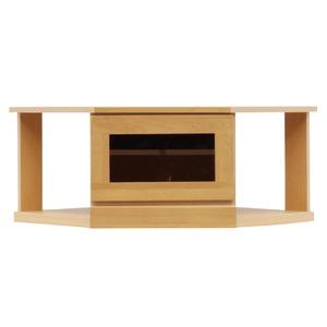 2段コーナー家具/リビングボード 【幅75cm】 木製(天然木) 扉収納付き 日本製 ナチュラル 【完成品】