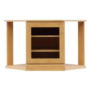 4段コーナー家具/リビングボード 【幅75cm】 木製(天然木) 扉収納付き 日本製 ナチュラル 【完成品】