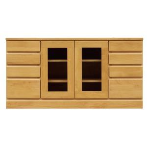 4段ローボード/テレビ台 【幅120cm:37型〜52型対応】 木製 扉収納付き 日本製 ナチュラル 【完成品 開梱設置】 - 拡大画像
